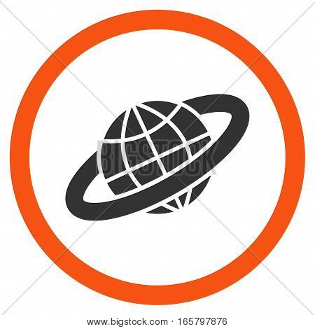 Planetary Ring vector bicolor rounded icon. Image style is a flat icon symbol inside a circle, orange and gray colors, white background.