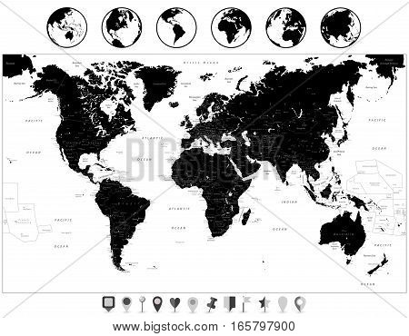 Black World Map and navigation icons isolated on white. Highly detailed map illustration with countries cities and navigation symbols.