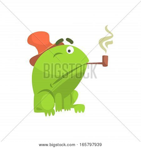Green Frog Funny Character Smoking Pipe Childish Cartoon Illustration. Flat Bright Color Isolated Funny Toad Life Situation Vector Sticker.