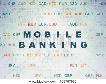 Money concept: Painted blue text Mobile Banking on Digital Data Paper background with Currency