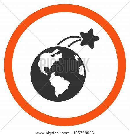 Rising Satellite On Earth vector bicolor rounded icon. Image style is a flat icon symbol inside a circle, orange and gray colors, white background.