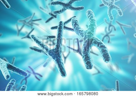 Chromosomes on scientific background. Life and biology, medicine scientific concept with focus effect, 3d rendering