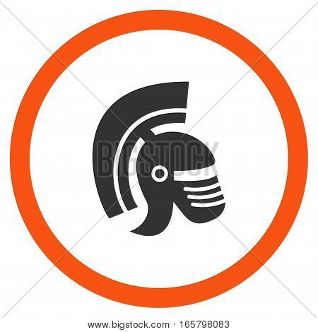 Rome Helmet vector bicolor rounded icon. Image style is a flat icon symbol inside a circle, orange and gray colors, white background.