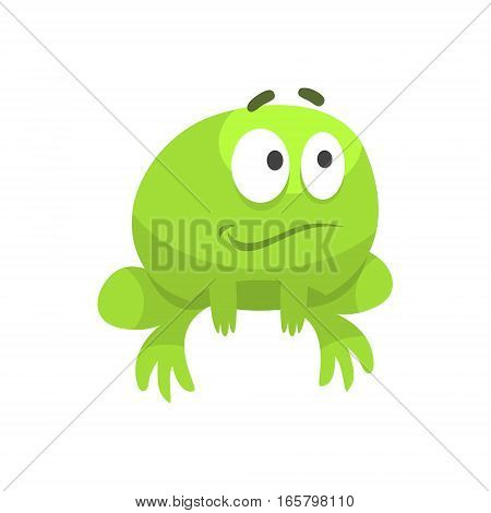 Smiling Hopeful Big-Eyed Green Frog Funny Character Childish Cartoon Illustration. Flat Bright Color Isolated Funny Toad Life Situation Vector Sticker.