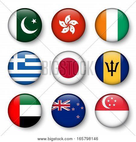 Set of world flags round badges ( Pakistan . Hong kong . Ivory Coast . Greece . Japan . Barbados . UAE . New zealand . Singapore )