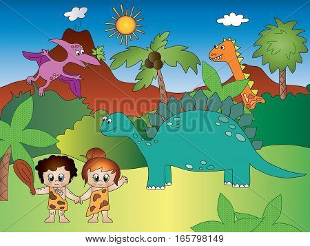 Funny cartoon with dinosaurs and primitive men