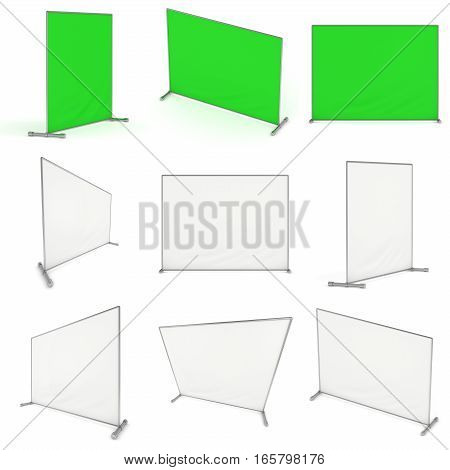 Billet press wall with green screen chroma key banner set. Mobile trade show booth white and blank. 3d render isolated on white background. High Resolution Template for your design.