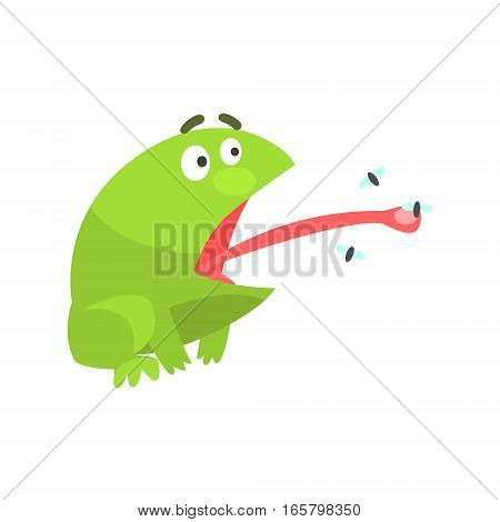 Green Frog Funny Character Catching Flies With Its Tongue Childish Cartoon Illustration. Flat Bright Color Isolated Funny Toad Life Situation Vector Sticker.