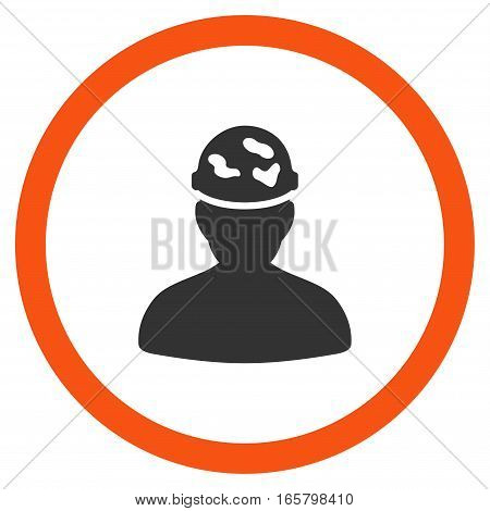 Soldier Under Spotted Helmet vector bicolor rounded icon. Image style is a flat icon symbol inside a circle, orange and gray colors, white background.