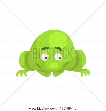 Upset Green Frog Funny Character Childish Cartoon Illustration. Flat Bright Color Isolated Funny Toad Life Situation Vector Sticker.
