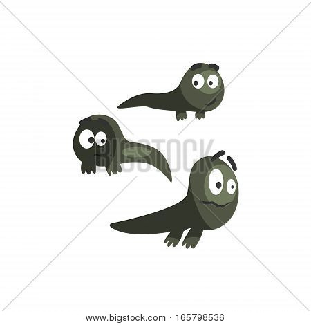 Frog Baby Black Newts Funny Characters Childish Cartoon Illustration. Flat Bright Color Isolated Funny Toad Life Situation Vector Sticker.