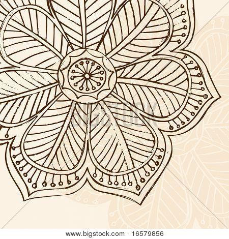 handgezeichnete skizzenhaften Henna Doodle-Blume-Vektor-illustration