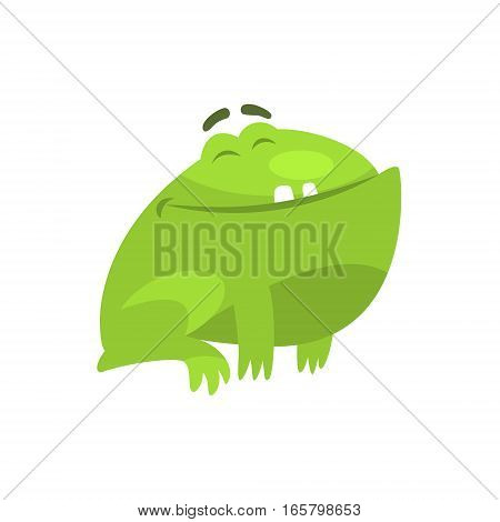 Satisfied Smiling Green Frog Funny Character Childish Cartoon Illustration. Flat Bright Color Isolated Funny Toad Life Situation Vector Sticker.