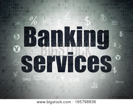 Banking concept: Painted black text Banking Services on Digital Data Paper background with  Hand Drawn Finance Icons