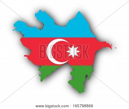 Detailed and accurate illustration of map and flag of Azerbaijan