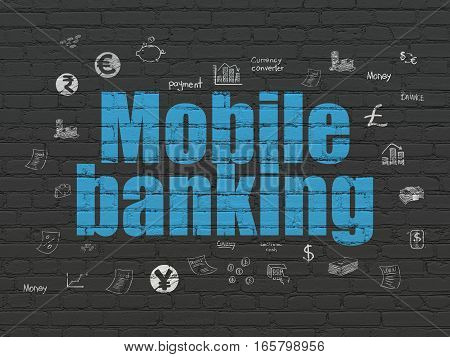 Banking concept: Painted blue text Mobile Banking on Black Brick wall background with  Hand Drawn Finance Icons