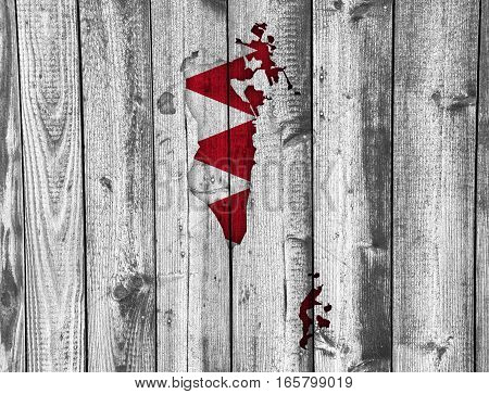 Map And Flag Of Bahrain On Weathered Wood