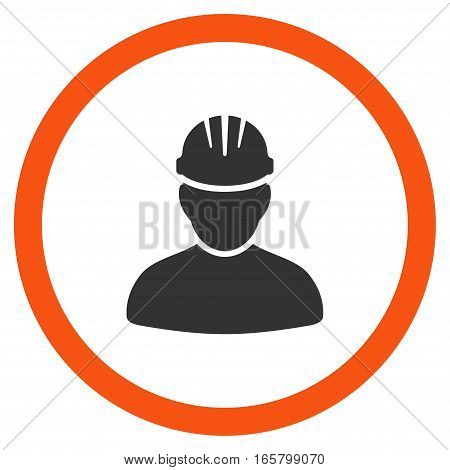 Worker Person vector bicolor rounded icon. Image style is a flat icon symbol inside a circle, orange and gray colors, white background.