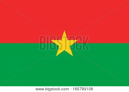 Detailed and accurate illustration of colored flag of Burkina Faso