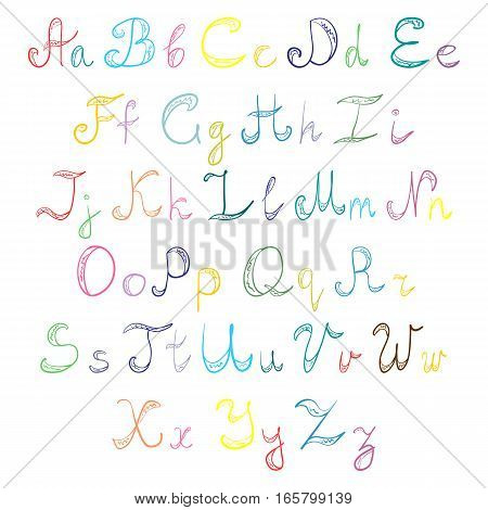 Hand Drawn Doodle Font. Children Drawings of Colorful Scribble Alphabet. Vector Illustration.