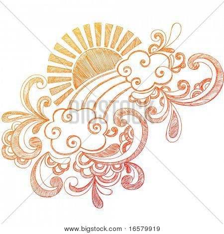 Sunny Summer Day Hand-Drawn Sketchy Notebook Doodles Vector Illustration