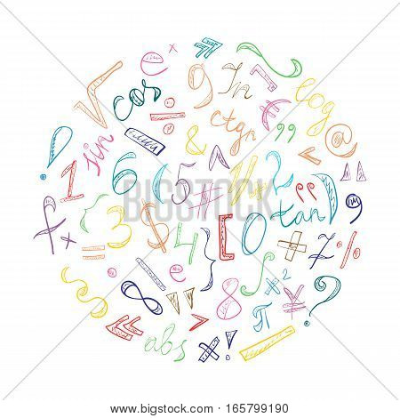 Colorful Hand Drawn Doodle Symbols and Numbers. Scribble Signs Arranged in a Circle. Vector Illustration.