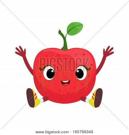 Big Eyed Cute Girly Apple Character Sitting, Emoji Sticker With Baby Fruit. Cartoon Humanized Character Colorful Vector Icon.