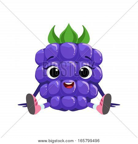 Big Eyed Cute Girly Blackberry Character Sitting, Emoji Sticker With Baby Berry. Cartoon Humanized Character Colorful Vector Icon.