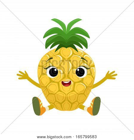 Big Eyed Cute Girly Pineapple Character Sitting, Emoji Sticker With Baby Fruit. Cartoon Humanized Character Colorful Vector Icon.