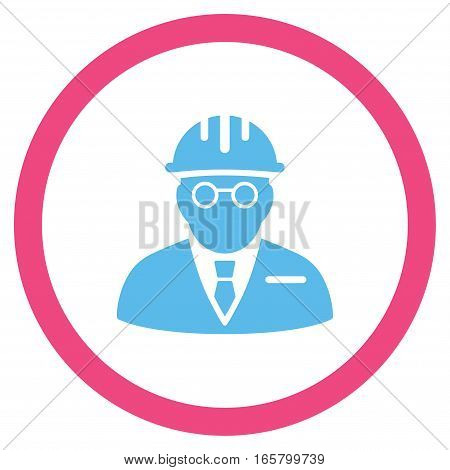 Blind Engineer vector bicolor rounded icon. Image style is a flat icon symbol inside a circle, pink and blue colors, white background.