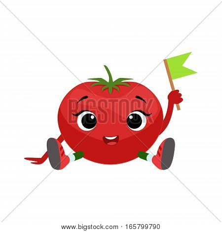 Big Eyed Cute Girly Tomato Character Sitting, Emoji Sticker With Baby Vegetable. Cartoon Humanized Character Colorful Vector Icon.