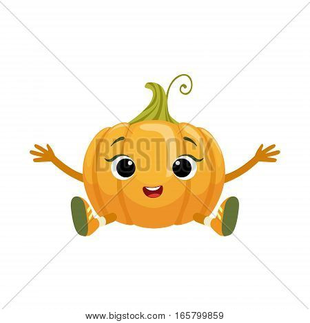 Big Eyed Cute Girly Pumpkin Character Sitting, Emoji Sticker With Baby Vegetable. Cartoon Humanized Character Colorful Vector Icon.