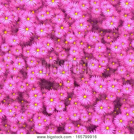 Beautiful pink flowers scattered on wall 3D illustration