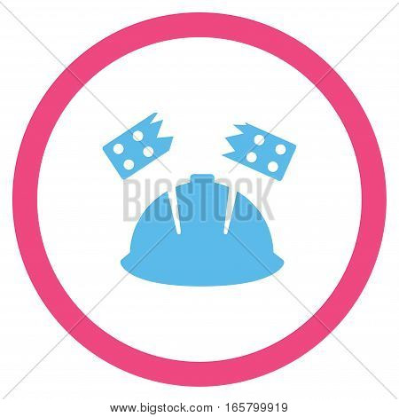Brick Helmet Accident vector bicolor rounded icon. Image style is a flat icon symbol inside a circle, pink and blue colors, white background.