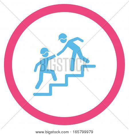 Builder Business Help vector bicolor rounded icon. Image style is a flat icon symbol inside a circle, pink and blue colors, white background.