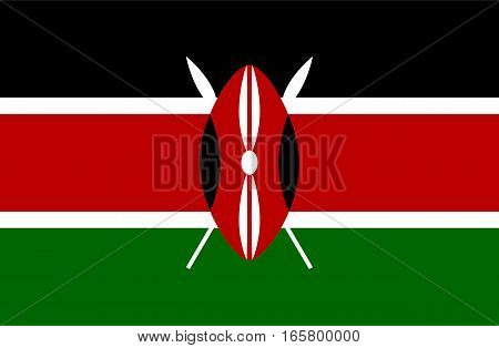 Detailed and accurate illustration of colored flag of Kenya