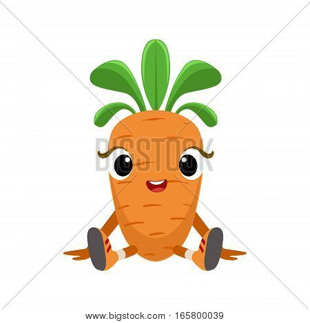 Big Eyed Cute Girly Carrot Character Sitting, Emoji Sticker With Baby Vegetable. Cartoon Humanized Character Colorful Vector Icon.