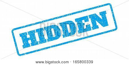Blue rubber seal stamp with Hidden text. Vector message inside rounded rectangular shape. Grunge design and dust texture for watermark labels. Inclined sign on a white background.