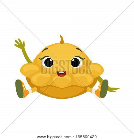 Big Eyed Cute Girly Star Shaped Marrow Character Sitting, Emoji Sticker With Baby Vegetable. Cartoon Humanized Character Colorful Vector Icon.