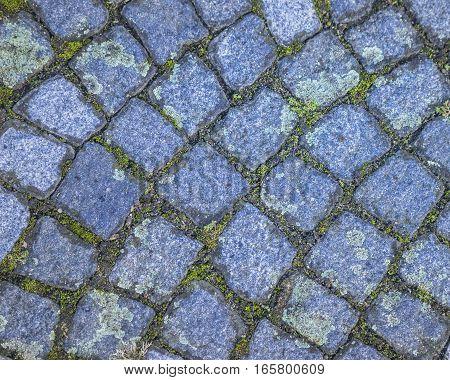 Typical blue cobblestones in an european village