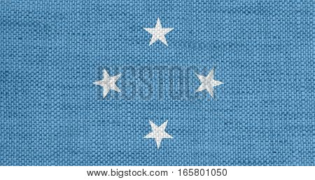 Flag Of Micronesia On Old Linen