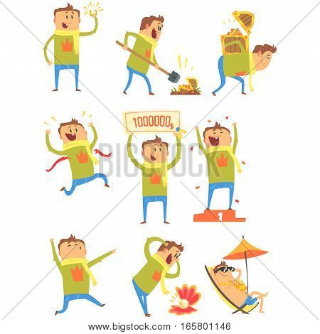 Lucky Man Having Good Luck And Sudden Stroke Of Fortune Series Of Comic Vector Illustrations. Cartoon Character Happy To Have A Lucky Charm And Lucky Situations.