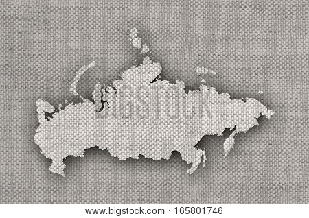 Map Of Russia On Old Linen