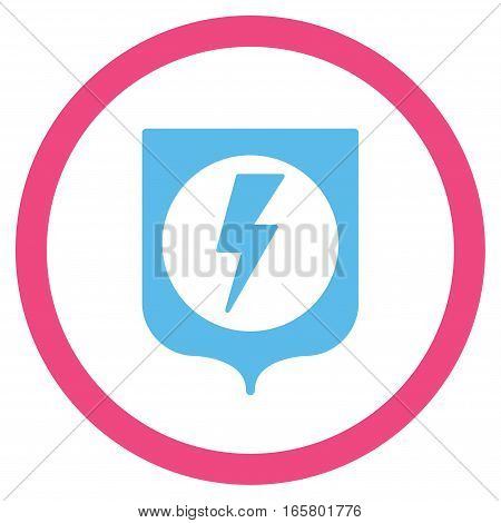 Electric Protection vector bicolor rounded icon. Image style is a flat icon symbol inside a circle, pink and blue colors, white background.