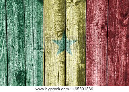 Flag Of Senegal On Weathered Wood