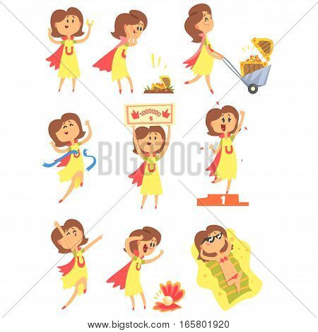 Lucky Woman Having Good Luck And Sudden Stroke Of Fortune Series Of Comic Vector Illustrations. Cartoon Character Happy To Have A Lucky Charm And Lucky Situations.
