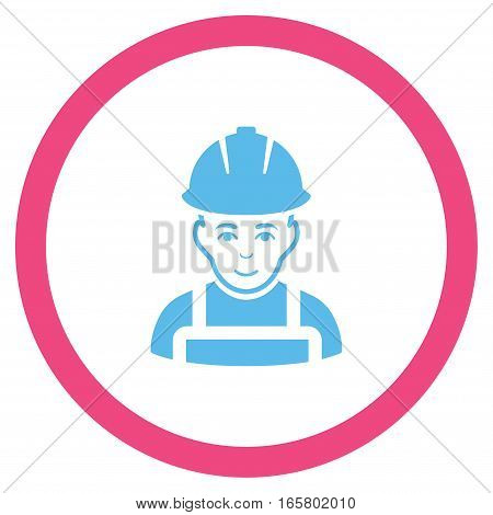 Glad Worker vector bicolor rounded icon. Image style is a flat icon symbol inside a circle, pink and blue colors, white background.