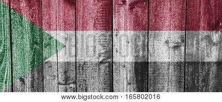 Flag Of Sudan On Weathered Wood
