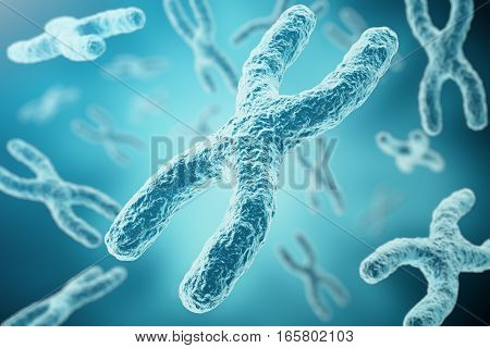 XY-chromosomes as a concept for human biology medical symbol gene therapy or microbiology genetics research, 3d rendering