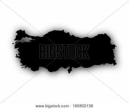 Map Of Turkey With Shadow